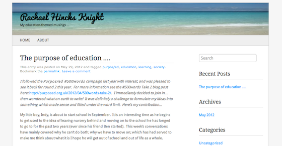 A screenshot of Rachael Hincks Kinght's blog post for Purpos/ed