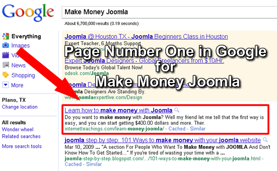 Page Number One for CMS Teachings in Google for Make Money Joomla