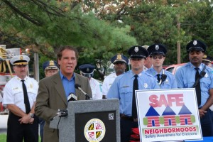 Councilman Kevin Kamenetz works to protect our communities.  Here, Kevin kicks off the Safe Neighborhood Campaign in Rodgers Forge.