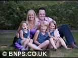 Saving for the future: James and Rachael Stelfox put £200 a month aside for each of their three daughters Sian, Harriet and Edie