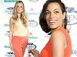 Love, set, matching! Molly Simms and Rosario Dawson stun in orange at the US Open Kick-off Party