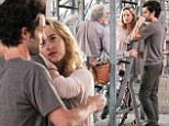 Taking direction: Penn Badgley and Dakota Johnson listened up on Friday as director Michael Almereyda spoke to them on the New York City set of Cymbeline