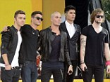 Boys in black: The Wanted wore monochrome to perform as part of Good Morning America's summer concert series