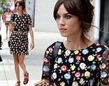Flower power: Alexa Chung wows onlookers whilst out and about on the streets of New York City