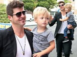 Daddy's little superstar: Robin Thicke takes his son to rehearsals after little Julian's music video debut