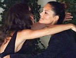 My new best friend! Reunion actress Cara Santana gives former America Idol contestant Pia Toscano a hug after having lunching together at the Sunset Tower Hotel in West Hollywood