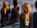 Isn't it romantic? Zach Braff and co-star Kate Hudson enjoy the sunset over a cold beer on the set of Wish I Was Here