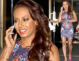 Looking loud! Mel B showed her curves in a bright, printed dress as she left the Today show in New York City on Thursday