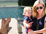 'The only way to parent': Reese Witherspoon tweets self-congratulatory snap as she bottle feeds her son at elite resort in tropical paradise