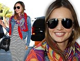Feeling funky! Miranda Kerr showed off her daring style as she stepped out at LAX on Thursday