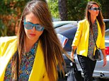 Yellow Friday: Jessica Alba wore a very bright outfit to a business meeting in Culver City