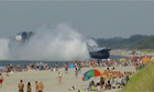 Huge military ship ploughs into Russian beach