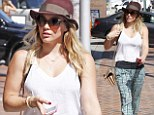 Actress Hilary Duff wears a fashionable outfit as she steps out in Beverly Hills on Friday
