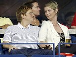 Courtship: Cynthia Nixon and Christine Marinoni watch tennis in Arthur Ashe Stadium on day five at the U.S. Open Tennis Championships in New York on Friday