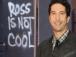 Angry: David Schwimmer's neighbors have plastered a graffiti sign outside his East Village town house in New York