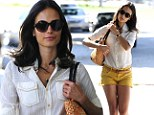 Beaming bright: Jordana Brewster stepped out in a white blouse and yellow shorts to stop by a salon in West Hollywood, California on Thursday