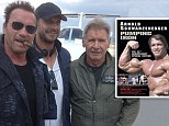 Arnold Schwarzenegger plays the tough guy on set with Sylvester Stallone and Harrison Ford... as new bodybuilding film is set for release