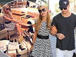 Her favourite: Paris Hilton cosied up to her boyfriend River Viiperi for an afternoon in Beverly Hills, California on Thursday
