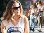 Sarah Jessica Parker is casual but classy in cropped khaki trousers and sleeveless top as she walks son James to school