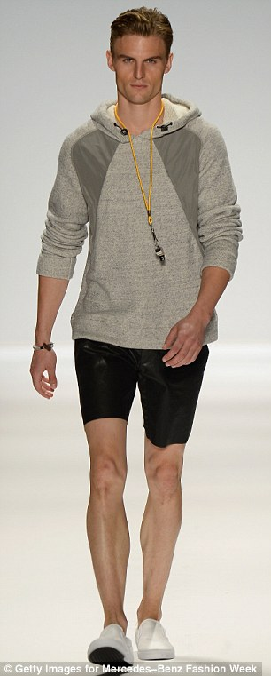 Cool dudes: The Nautica collection featured some other cool items like a grey hoodie and athletic shorts, and a yellow jacket and trousers for the active man