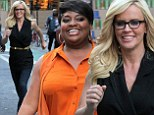 Ready to chat! Jenny McCarthy looks enthusiastic as she smiles ear to ear with co-host Sherri Shephard on the New York set of The View