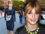 'Not a woman, not a little girl': Bella Thorne, 15, Shakes It Up to look older in a matronly blue frock at Nicole Miller fashion show