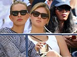 Stern Naomi Campbell holds court in Novak Djokovic's private box as Karolina Kurkova and Kate Upton live it up in the Moet & Chandon Suite at the US Open