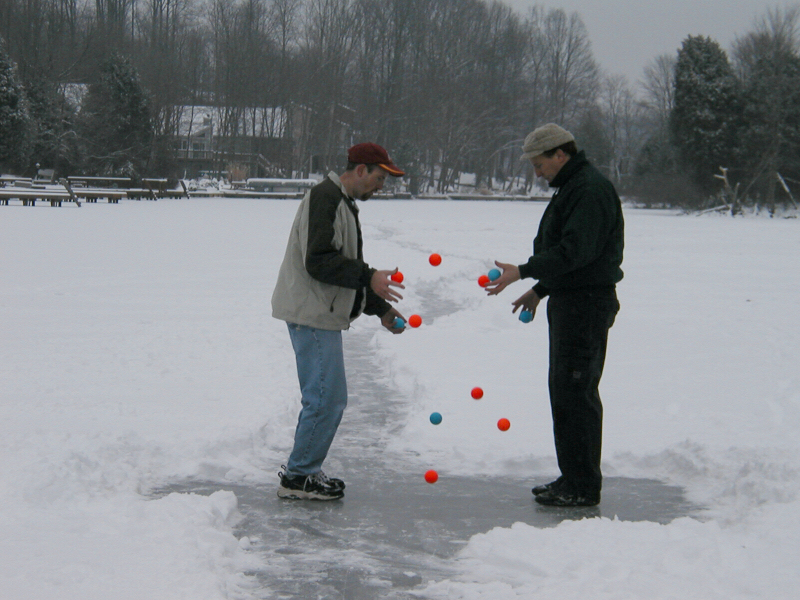 The Bounce Dicks pass 11 balls on a frozen lake