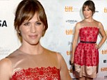 Left the kids with Ben! Jennifer Garner is chic in red lace as she flies solo at Toronto premiere of Dallas Buyers Club