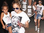 Midas touch! Jennifer Lopez sports some fancy golden footwear on outing with Casper Smart and her twins