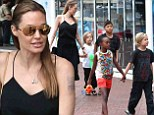 angelina jolie and kids children family walking