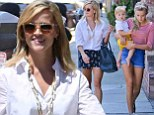 Anchors away! Reese Witherspoon shows off her legs while on a lunch outing with her children Ava and too-cute Tennessee