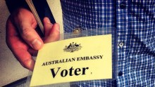 An Australian casts his vote in Beijing, China