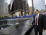 Such a tragedy: Cantor Fitzgerald head Howard Lutnick walks among the names of those lost from his firm on Sept 11, 2001