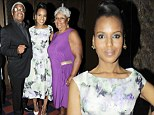 Two very proud parents! Kerry Washington brings mother and father to dinner held in her honour and wears dramatic floral dress