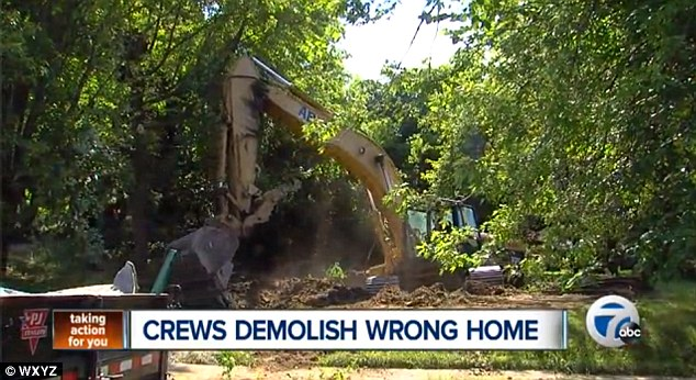 Good riddance: Neighbors were actually happy with the outcome as the home that was accidentally torn down was an eyesore which attracted squatters