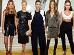 Linda Evangelista, Doutzen Kroes, and Alessandra Ambrosio don b&w ensembles for Peter Lindbergh exhibition