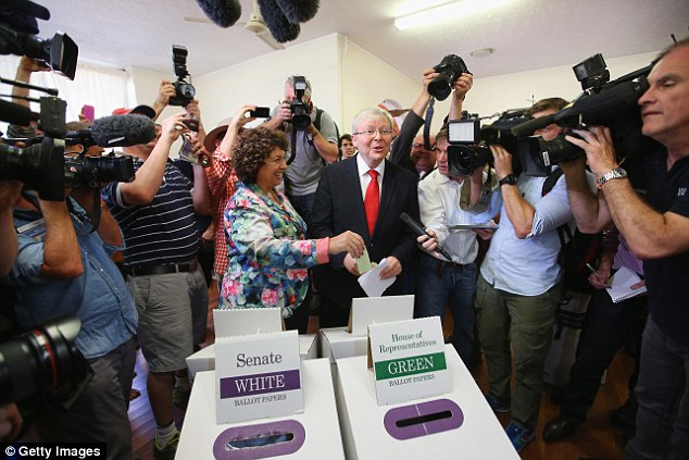 Australian Prime Minister, Kevin Rudd and his wife, Therese Rein vote at St Paul's Church in Brisbane