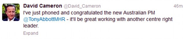 British Prime Minister David Cameron tweeted to say how he had phoned to congratulate his new Australian counterpart
