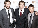 Brotherly love: Luke Hemsworth (far right) joined his superstar younger brothers Liam (left) and Chris (centre) at the Toronto premiere of Chris's new film Rush on Sunday night