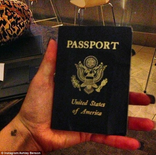 Off exploring! Ashley jetted out of Los Angeles three days ago, posting a shot of her passport on her Twitter and Instagram pages alongside the caption: 'Bye bye LA.'