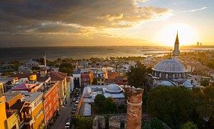 Turkish delight: Property prices in Turkey were up 12.2 per cent annually - pictured, Istanbul