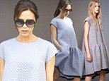 Designer Victoria Beckham steps out in her 'favourite piece' - a billowy tent dress - from her new collection