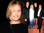 Taking a break from filming... for shoes! Cameron Diaz wears Pour La Victoire high heel sandals at Waverly Inn dinner party