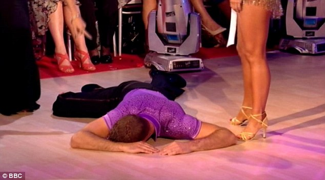Ever the joker! Ashley collapsed on the floor after he heard who he would be dancing alongside
