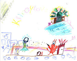 "The Blue Lady, depicted by 9-year-old Phatt, throws up a bulletproof barrier to protect two homeless children, drawn with soiled faces and clothes. The Horned Demon entered Miami via a ""Hell door"" concealed by an abandoned refrigerator (at the figure's right). The NationsBank building, an angel hangout, glows in the distance."