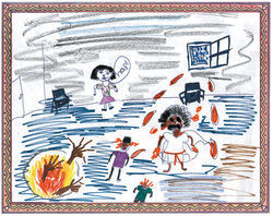 Bloody Mary, weeping tears of blood, invades a homeless shelter after being conjured through a mirror coated with seawater (upper right corner). Eleven-year-old Tiffany depicted herself calling for help as two children are maimed and a gateway to Hell (lower left corner) gapes in the floor to consume them.