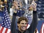 Champion: Rafael Nadal beat Novak Djokovic in four sets to win his 13th Grand Slams