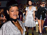 Rihanna swaps trendy street wear for shapeless silver dress and stockings as she steps out at Fashion Week runway show