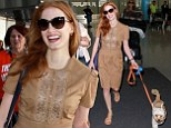 Best in show! Jessica Chastain's three-legged rescue dog steals the spotlight as the pair arrive in Toronto